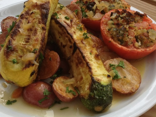 Poulet Roti, Tomates A La Provencale and Pommes De Terre Chateau