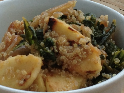 Kale Carmelized Onions Maple Syrup Parsnips over Quinoa